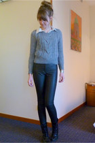 charcoal gray H&M jumper - black faux leather H&M pants