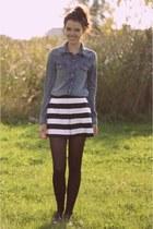 blue H&M blouse - white asos shorts
