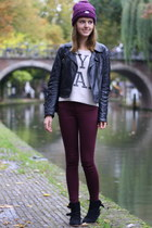 brick red H&M jeans - maroon beanie Gstar hat - black leather asos jacket