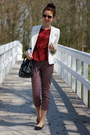 White-primark-blazer-brick-red-h-m-top-black-printed-h-m-pants