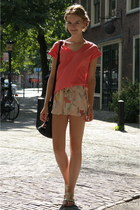 salmon chiffon Primark top - cream floral chiffon H&M shorts