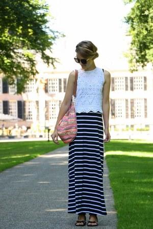 black Zara dress - hot pink boho bohemian Primark bag - white Zara top