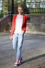 Blue-primark-jeans-red-red-boyfriend-forever21-blazer-white-h-m-top
