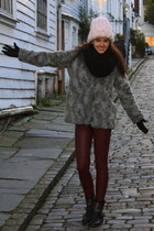 heather gray faux fur fur H&M coat - brick red H&M pants