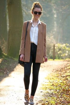 tawny H&M blazer - black Cheap Monday jeans - white H&M blouse