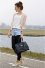 Cream-knitted-vila-sweater-peach-sequins-h-m-blazer