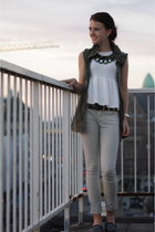 beige striped Zara jeans - army green diy H&M vest - ivory peplum Zara top