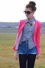 Pink-zara-blazer-studded-zara-boots-levis-501-vintage-shorts