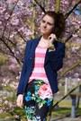 Black-floral-h-m-pants-navy-mango-blazer-pink-knitted-primark-shirt