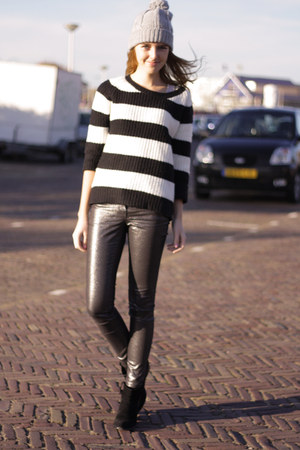 striped Primark sweater - H&M boots - shiny H&M pants