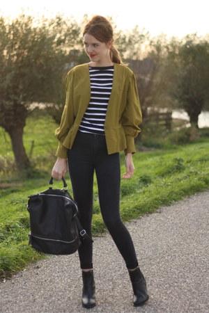 olive green thrifted vintage blazer - black Topshop jeans - black Primark bag