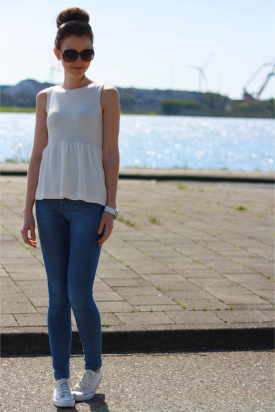 white Zara top - Zara jeans