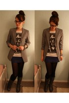 gray thrift blazer - navy thrift skirt - navy