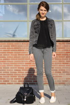 ivory flossy flats - black striped H&M jeans - gray CheapMonday jacket