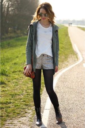 black H&M boots - army green Primark coat - silver Bershka shorts