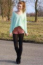 Light-blue-knitted-h-m-sweater-coral-lace-forever21-shorts