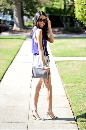 purple BCBG top - Rebecca Minkoff bag - silver cynthia steffe shorts