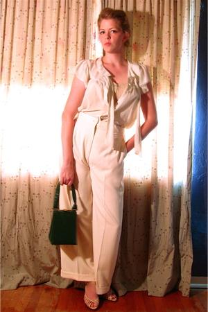 thrifted pants - vintage bra - H&M blouse - vintage purse - vintage hat - Target