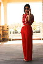red vintage blouse - H&M pants - Zara heels