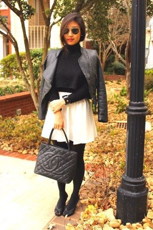 black Chanel bag - white vintage skirt