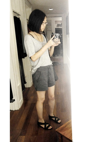 gray codes combine top - green codes combine shorts - silver Etsy accessories -