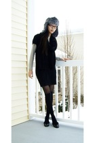 gray Totes hat - black giordano dress - beige Gap shirt - black Steve Madden sho