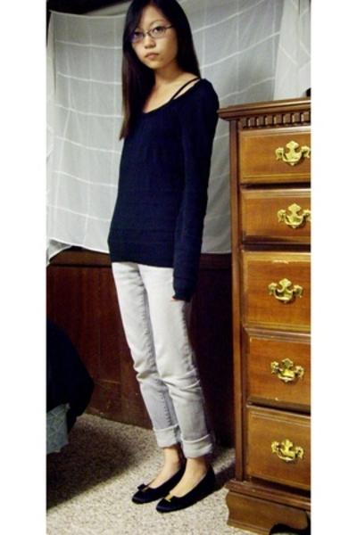 somewhere in China sweater - banana republic - PacSun jeans - ferragamo shoes