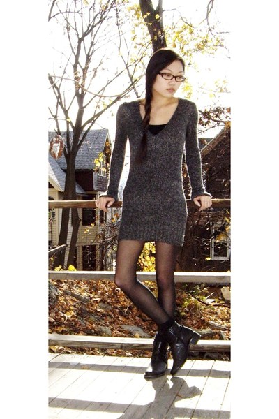 Forever 21 dress - top - tights - socks - etienne aigner boots