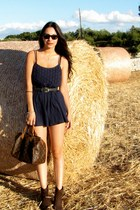 navy Urban Outfitters romper - dark brown Enzo Angiolini boots