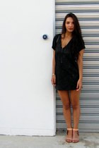 black Urban Outfitters dress - black Ebay bag - nude Chinese Laundry sandals