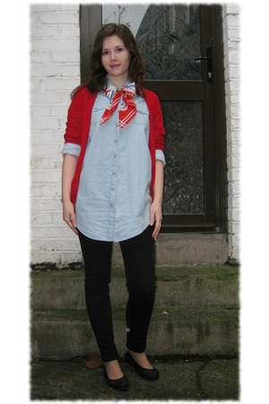 red Zara cardigan - Topshophop shirt - black asos jeans - black camper shoes - a