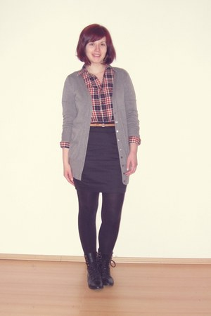black asos boots - burnt orange H&M shirt - black H&M skirt - silver Zara cardig