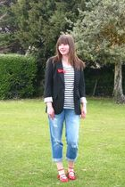 black Primark blazer - white H&M shirt - blue Miss Selfridge jeans - red shoes -