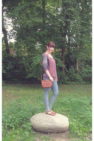 purple Kookai blouse - blue asos jeans - brown bag - brown shoes - gold KDikio n
