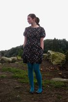 black Awear dress - green We Love Colors tights - black camper shoes