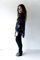 black sheer floral Vintage Gap blouse - black leather-suede Dolce Vita wedges