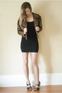 Black-h-m-dress-brown-vintage-jacket-charcoal-gray-thrifted-heels