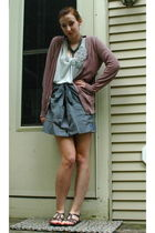 pink Forever 21 cardigan - black vintage skirt - silver Apricot Lane shirt