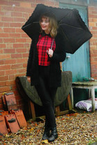 black Ebay boots - red tartan Primark shirt - black fluffy open Primark cardigan