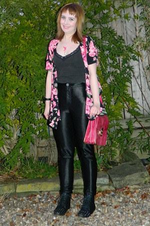 black floral kimono Missguided top - black Joe Browns top - black Ebay boots