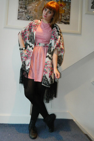 pink Missguided dress - black Ebay boots - white Missguided jacket