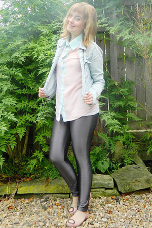 pink vivienne westwood flats - light blue denim Topshop jacket