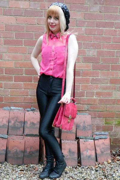 black stud front Ebay boots - black sequin beret hm hat