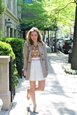 tan Forever 21 jacket - camel JCrew sweater - off white J Crew skirt
