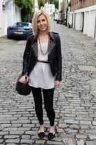 studded leather Zara jacket - Topshop top