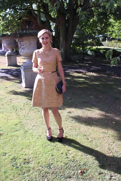 clutch vintage bag - gold tweed jaeger dress - Topshop heels