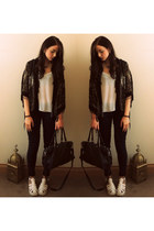 white new look shoes - Primark jeans - River Island jacket - white new look vest