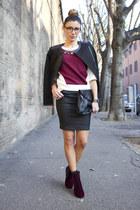 crimson Gaudi sweatshirt - crimson asos boots - black Gaudi jacket