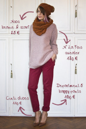 light pink A la fois sweater - brown asoscom scarf