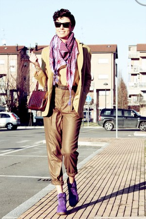 purple Paul Smith shoes - mustard vintage blazer - light purple Shak Chic scarf